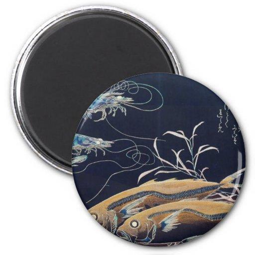 Pintura japonesa de la vida marina circa 1800's iman