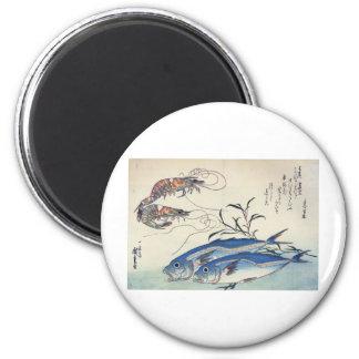 Pintura japonesa de la vida marina circa 1800's imán redondo 5 cm