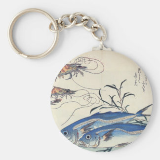 Pintura japonesa de la vida marina circa 1800's llavero