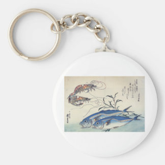 Pintura japonesa de la vida marina circa 1800's llavero personalizado