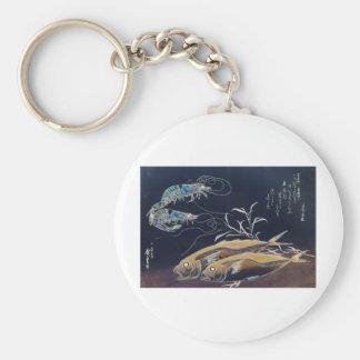 Pintura japonesa de la vida marina circa 1800's llaveros personalizados