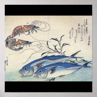 Pintura japonesa de la vida marina circa 1800's posters