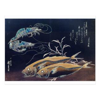 Pintura japonesa de la vida marina circa 1800's postal