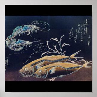 Pintura japonesa de la vida marina circa 1800's póster