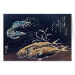 Pintura japonesa de la vida marina circa 1800's tarjetas