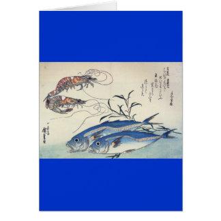 Pintura japonesa de la vida marina circa 1800's tarjeta de felicitación