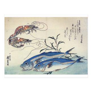 Pintura japonesa de la vida marina circa 1800's tarjeta postal