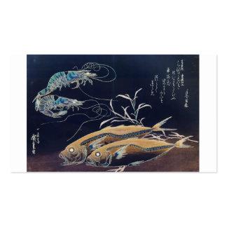 Pintura japonesa de la vida marina circa 1800's tarjetas de visita
