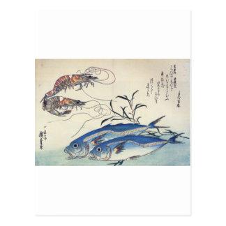 Pintura japonesa de la vida marina circa 1800's tarjetas postales