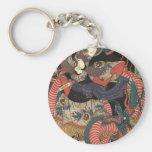 Pintura japonesa del dragón circa 1860 llavero redondo tipo pin