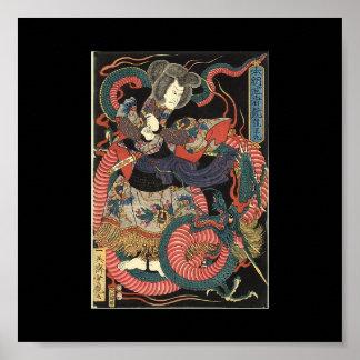 Pintura japonesa del dragón circa 1860 póster