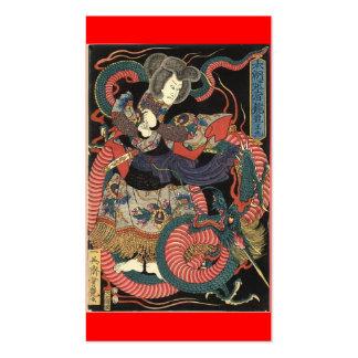Pintura japonesa del dragón circa 1860 tarjetas de visita