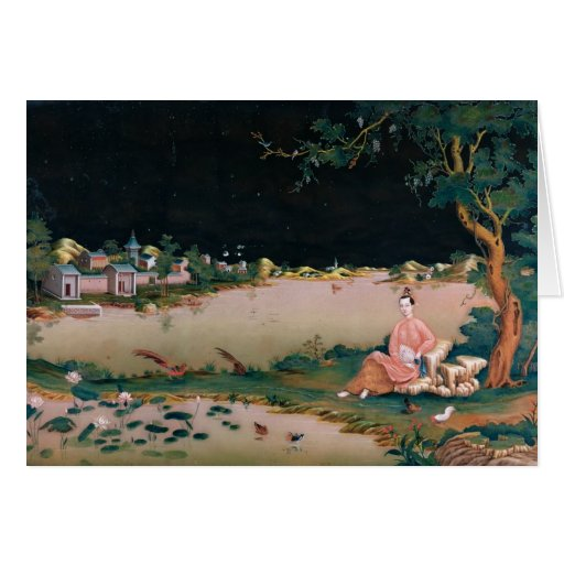 Pintura japonesa del espejo que muestra a un chica tarjetón