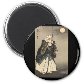 Pintura japonesa del guerrero. Circa 1922 Imán Redondo 5 Cm
