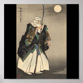 Pintura japonesa del guerrero. Circa 1922 Póster