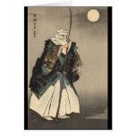 Pintura japonesa del guerrero. Circa 1922 Tarjeton