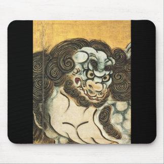 Pintura japonesa del león chino C. 1500's Tapete De Ratón