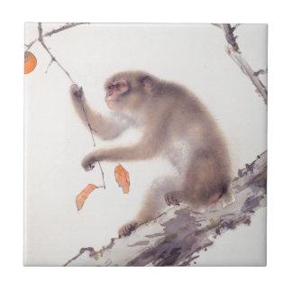 Pintura japonesa del mono - año del mono azulejo cuadrado pequeño