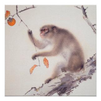 Pintura japonesa del mono - año del mono perfect poster