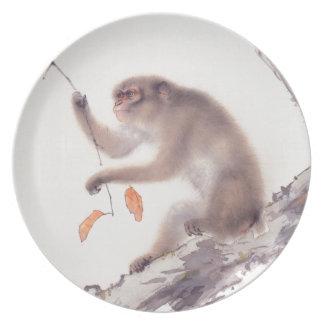 Pintura japonesa del mono - año del mono platos de comidas