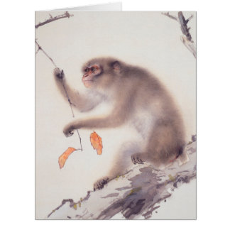 Pintura japonesa del mono grande de la tarjeta por