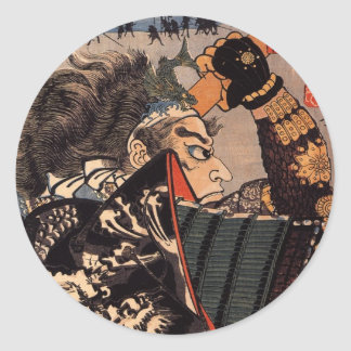 Pintura japonesa del samurai de 100 generales etiquetas redondas