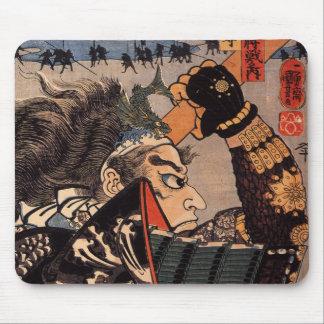 Pintura japonesa del samurai de 100 generales vali tapetes de ratones