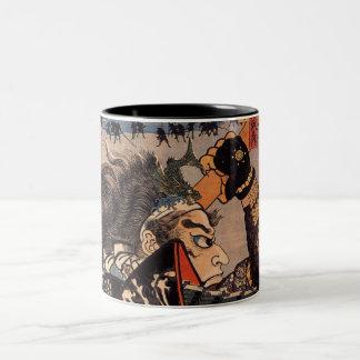 Pintura japonesa del samurai de 100 generales vali tazas de café