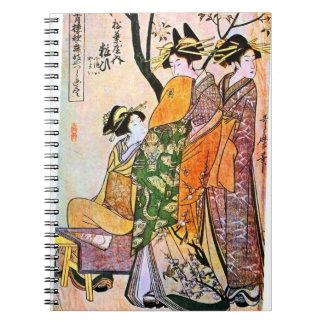 Pintura japonesa del vintage de tres mujeres libretas