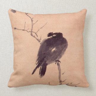 Pintura japonesa del vintage de un pájaro almohadas