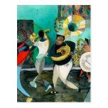 "Pintura ""jazz de la música de New Orleans "" Postal"