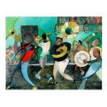"Pintura ""jazz de la música de New Orleans "" Tarjetas Postales"