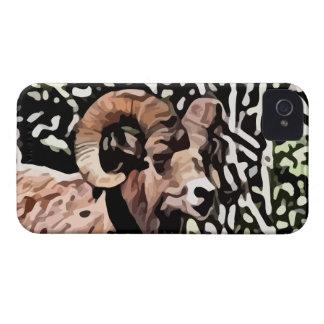 pintura larga de las ovejas del cuerno Case-Mate iPhone 4 cárcasas