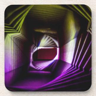 Pintura ligera abstracta púrpura y amarilla posavasos