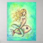 Pintura linda del arte de la fantasía de la sirena impresiones