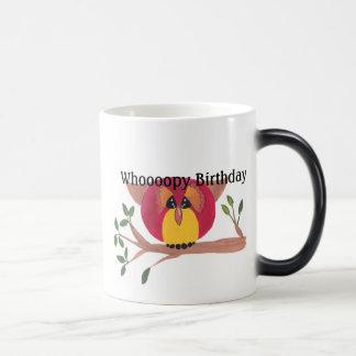 Pintura linda del búho de cuernos tazas de café