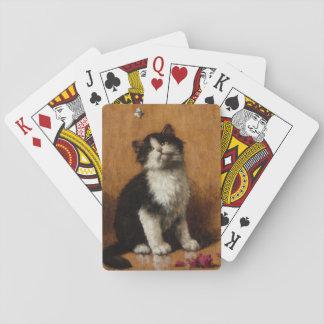 Pintura linda del gato barajas de cartas