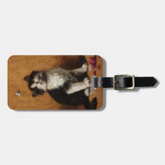 Pintura linda del gato etiquetas bolsa