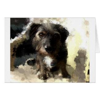 Pintura linda del perro y refrán divertido tarjeta de felicitación