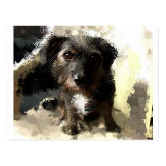 Pintura linda del perro y refrán divertido tarjeta postal