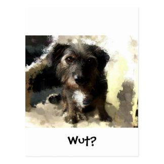 Pintura linda del perro y refrán divertido tarjetas postales