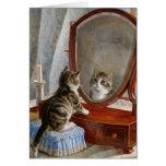 Pintura linda del vintage del gato del gatito de F Felicitación