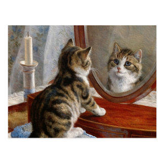 Pintura linda del vintage del gato del gatito de tarjeta postal