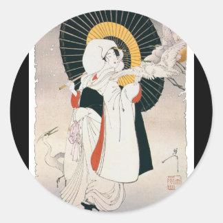 Pintura llamativo hermosa de la mujer japonesa pegatinas redondas