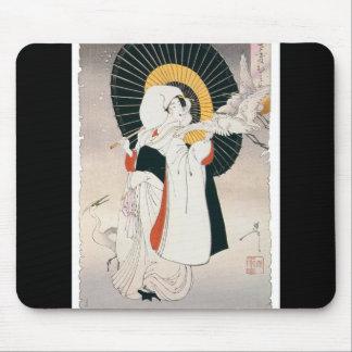 Pintura llamativo hermosa de la mujer japonesa alfombrillas de ratones