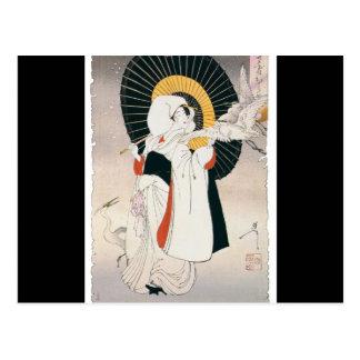 Pintura llamativo hermosa de la mujer japonesa tarjetas postales
