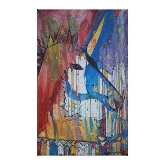Pintura lloviznada del unicornio de Avonelle Impresión En Tela