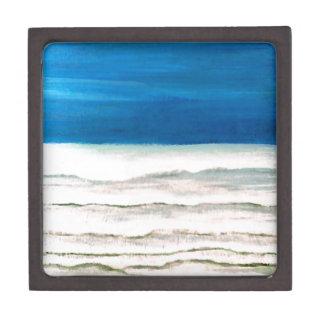 Pintura lluviosa de las olas oceánicas de la resac caja de recuerdo de calidad