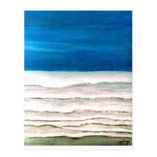 Pintura lluviosa de las olas oceánicas de la postal