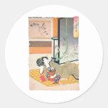 Pintura, madre y bebé japoneses antiguos pegatinas redondas